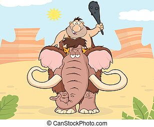 Happy Caveman Over Mammoth Illustration With Background