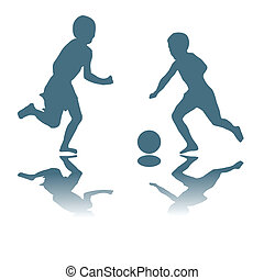 kids playing soccer - Silhouette illustration with kids...
