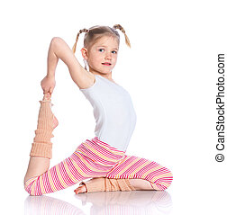 Girl practice yoga - Cute little girl practice yoga Isolated...