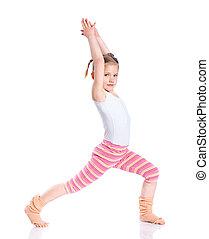 Girl practice yoga - Cute little girl practice yoga....