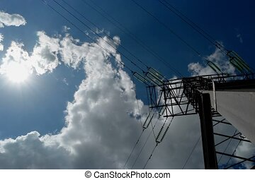 Power line and clouds timelapse