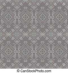 Vector tribal wire grey blue seamless pattern graphic design...