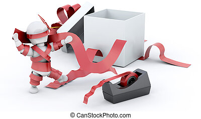 All Wrapped Up - 3D render of a man fighting with sticky...