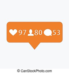 vector modern like, follower, comment icons on white...