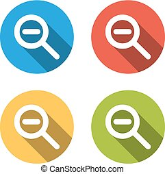 Collection of 4 isolated flat buttons for zoom out (shrink)...
