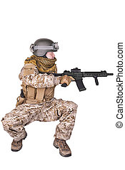 soldado,  Crouching, exército