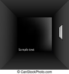 prison cell with bars, vector art illustration