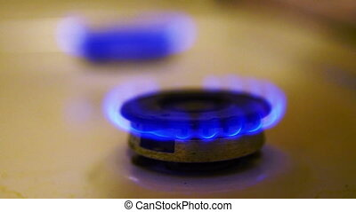 Gas Stove Fire Closeup View, Full HD