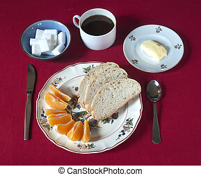 Breakfast set with coffee, bread%u2026 - Breakfast set with...