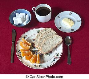Breakfast set with coffee, bread%u2026 - Breakfast set with...