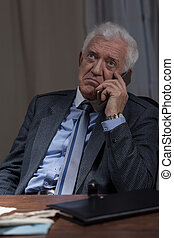 Man talking on the phone - Aged unhappy man talking on the...