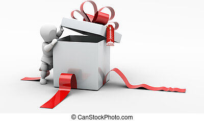 Man in Christmas Gift Box - 3D render of man looking in gift...