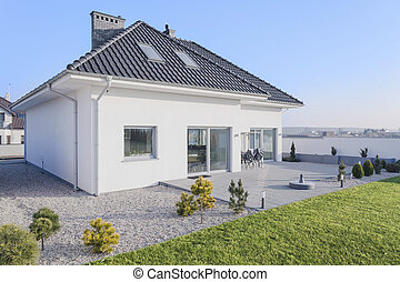 House with garden - Enormous white modern house with big...