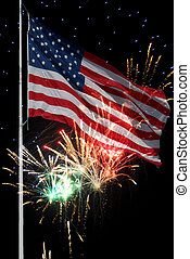 Old Glory with fireworks - Flag of the USA against a...