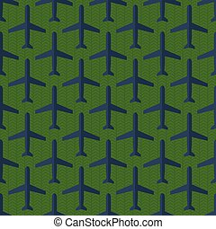 Seamless pattern with flat styled planes