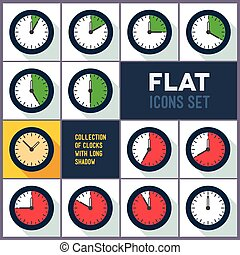 Set of clocks with 10 minutes interval