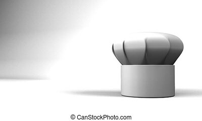 Chefs Hat With Three Stars On White Text Space 3D render...