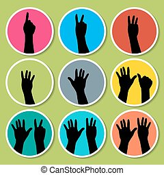 Black hands counting from 1 to 9 - Vector Illustration EPS10...