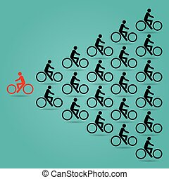 Red cyclists in the opposite. - Red cyclists in the opposite...