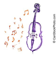 cello and musical notes - watercolor violet hand drawn cello...