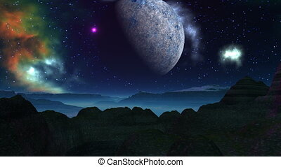Alien planet, moon, and nebula - The camera flies over...