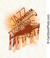 Jazz trumpet music festival background template
