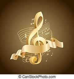 golden musical treble clef with abstract lines and notes,...