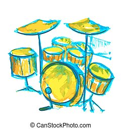 drums watercolor illustration with bright color strokes
