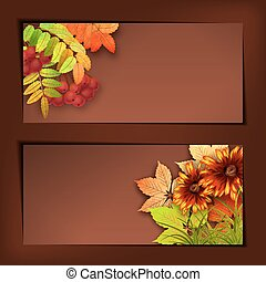 Autumn Vector Fall Leaves - Vector autumn banners with rowan...