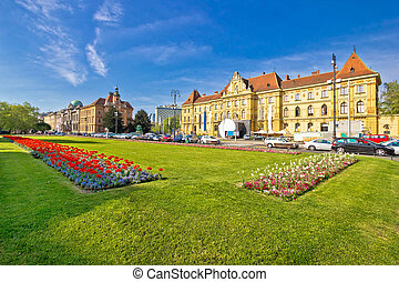 Historic Zagreb architecture and nature view, capital of...