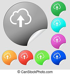 Upload from cloud  icon sign. Set of eight multi-colored round buttons, stickers. Vector