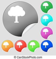 Tree, Forest icon sign Set of eight multi-colored round...