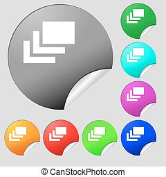 Layers  icon sign. Set of eight multi-colored round buttons, stickers. Vector