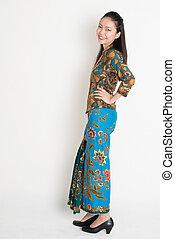 sudeste, mulher, Asiático