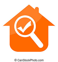 Real estate icon with house, magnifier glass and check mark