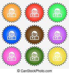 Doctor  icon sign. A set of nine different colored labels. Vector