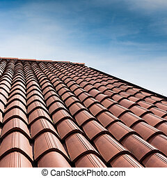 Tiled roof - Vertical view of a tiled roof brown