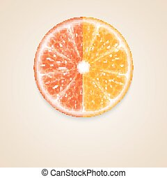 Citrus fruit - Background with citrus fruits. Orange, and...