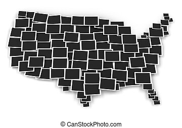 Map of USA formed by blank picture frames