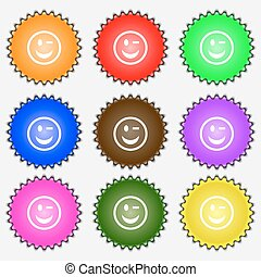 Winking Face  icon sign. A set of nine different colored labels. Vector