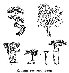 Tree Set Sketch - Set of 6 different hand drawn trees