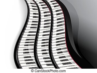 grand piano keys wavy over white background