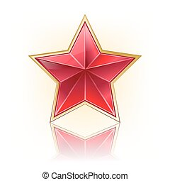 red five corner star with golden border on white with reflection