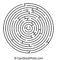 round maze, vector art illustration; easy to change colors