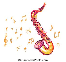 saxophone made with watercolor brush strokes and musical notes