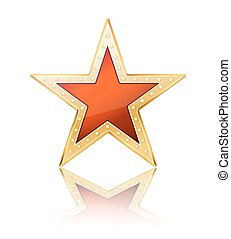 red star with golden frame on white