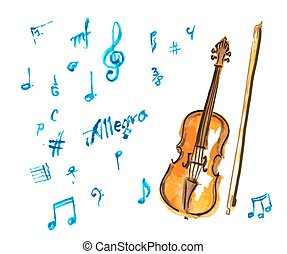 watercolor hand drawn violin and musical notes