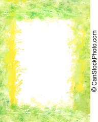 watercolor frame with bright green and yellow colors