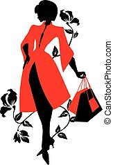 Elegant silhouette. Beautiful woman with flowers and bags.