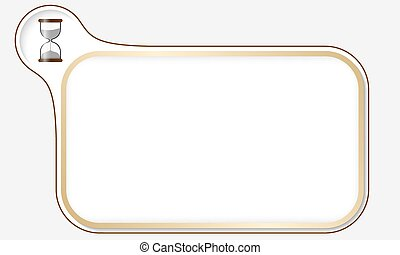 Golden frame for your text and sand glass